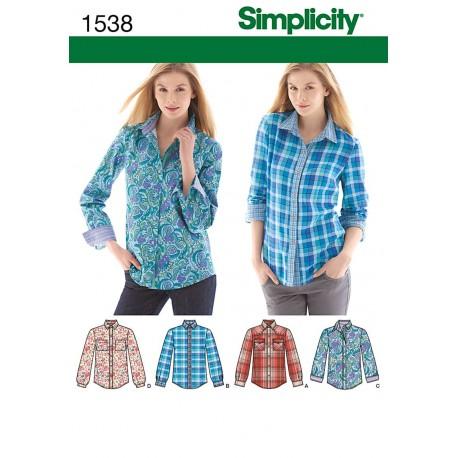 Skjorte, 4 modeller Simplicity Snitmønster 1538