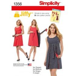 Slå om kjole forklædekjole Simplicity snitmønster 1356