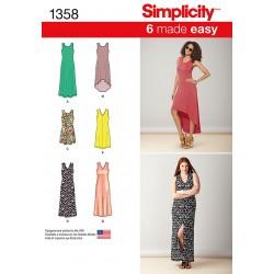 Kjole 5 varianter Simplicity snitmønster 1358
