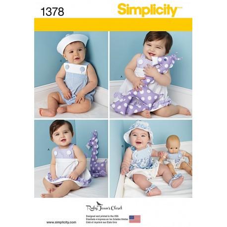 Baby kjole og baby dragt m/kyse/hat dreng/pige snitmønster