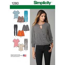 Bluse, leggings og tunika snitmønster Simplicity