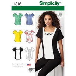Bluse 6 varianter snitmønster simplicity