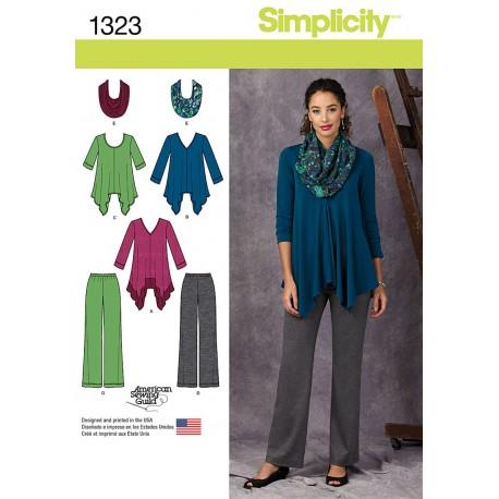 Tunika, bukser og tørklæde snitmønster