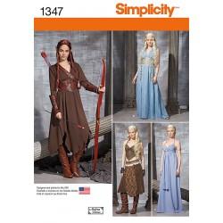 Fantasi kostume kjole 4 varianter snitmønster