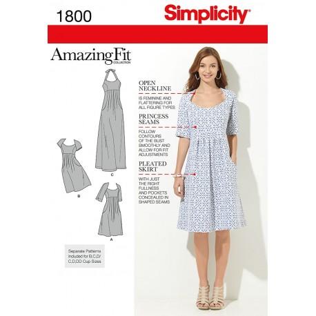 Kjole AmazingFit også plusmode snitmønster 1800