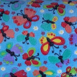 Fleece Lysblå med sommerfugle 100% Polyester