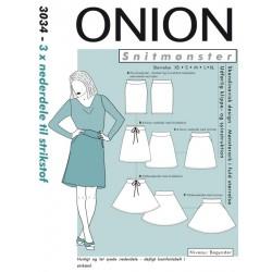 Nederdel 3 varianter Onion snitmønster 3034