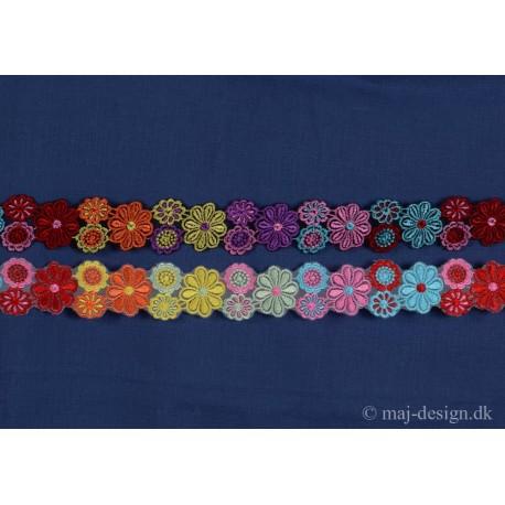Multifarvet bånd med blomster 35mm bred