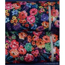 Quilt Marineblå eller sort med Blomster