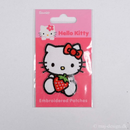 Hello Kitty med Jordbær 6,5x5 cm strygemærke