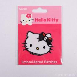Hello Kitty m/Sort sløjfe 4,5x5cm strygemærke