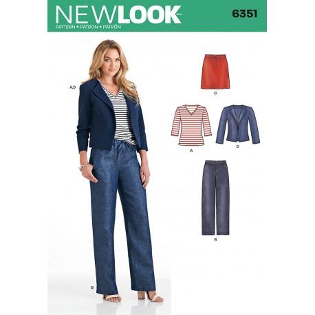 Jakke, bukser og nederdel snitmønster 6351 New Look