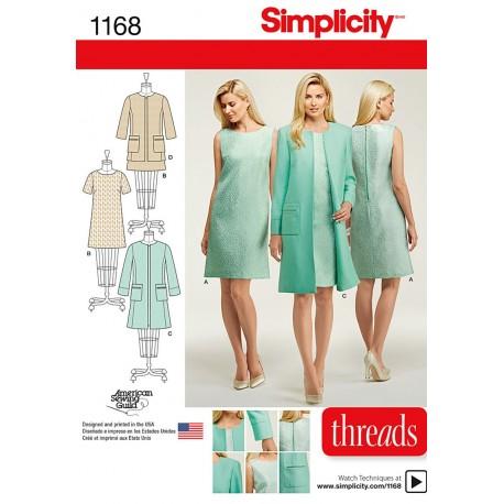 Kjole og frakke også plusmode Simplicity snitmønster 1168