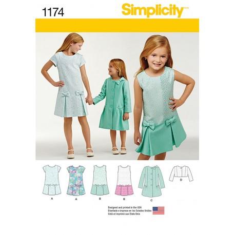 Pigekjole og frakke Simplicity snitmønster 1174