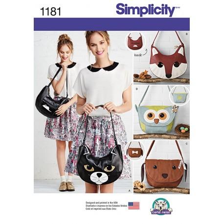 Tasker hund, kat og ugle Simplicity snitmønster 1181
