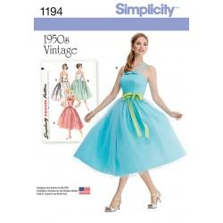 Vintage kjole Simplicit snitmønster 1194