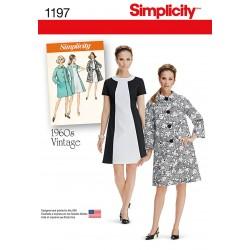 Vintage kjole og frakke også plusmode snitmønster