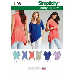 Bluse og tunika Simplicity snitmønster 1198 easy-to-sew