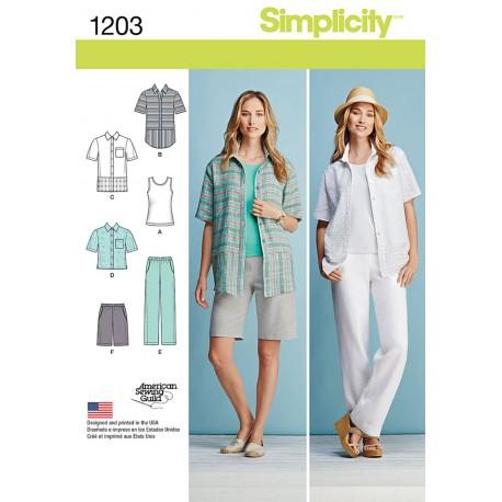 Bukser, shorts og skjorte også plusmode Simplicity snitmønster 1203