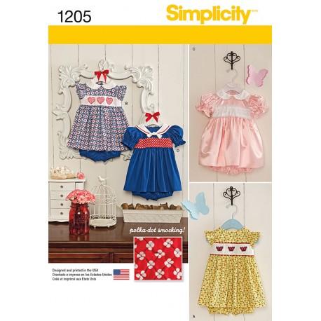 Babykjole og bukser 3 varianter Simplicity snitmønster 1205