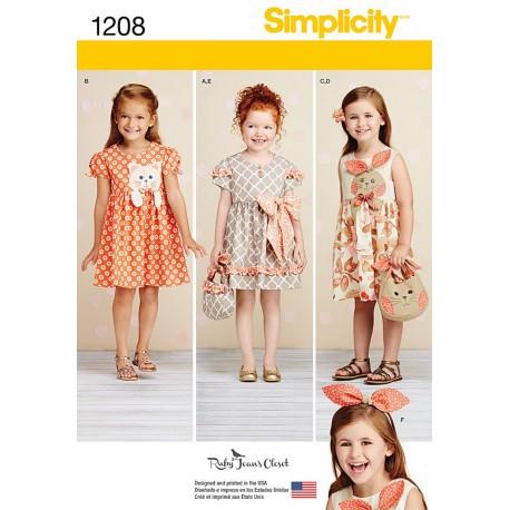 Pigekjole, taske og hårbøjle Simplicity snitmønster 1208