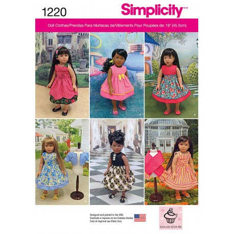 Dukketøj kjoler 45,5 cm dukke Simplicity snitmønster 1220