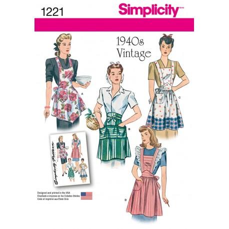 Vintage/retro forklæde Simplicity snitmønster 1221