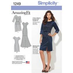 Kjole 3 varianter AmazingFit også plusmode Simplicity snitmønster 1249