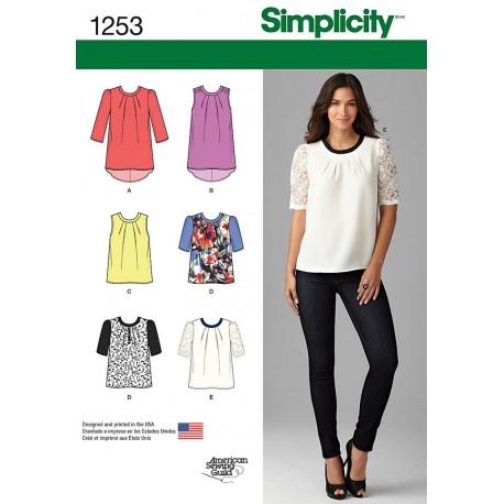 Bluse 6 varianter Simplicity snitmønster 1253