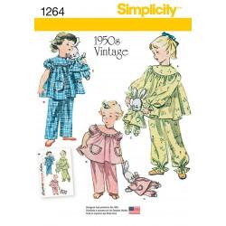 Vintage/retro 1950érne Pyjamas pige og kanin snitmønster