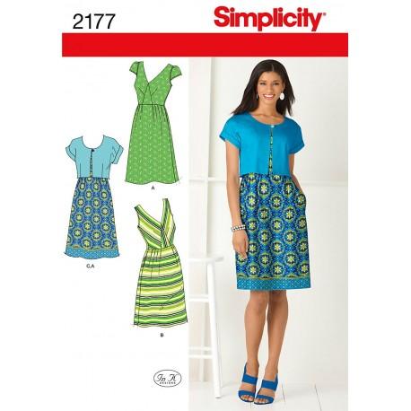 Kjole og kort jakke snitmønster 2177