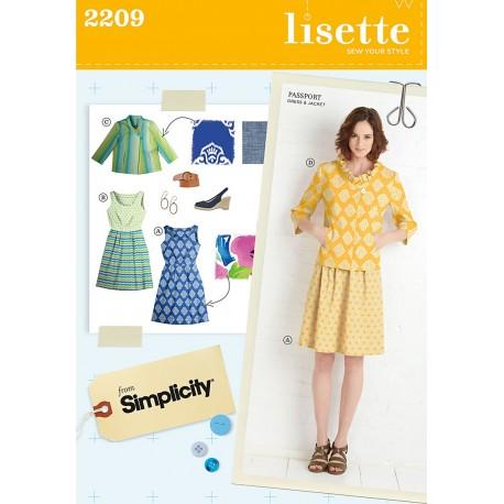 Kjole og jakke Simplicity snitmønster Lisette 2209