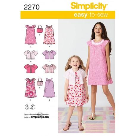 Kjole kort jakke og taske Simplicity snitmønster 2270