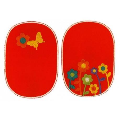 Strygelapper med Blomst og sommerfugl 11x8 cm
