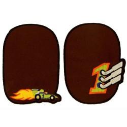 Strygelapper med Racer bil 11x8 cm