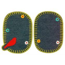 Strygelap m/Fugl eller blomster 11x8 cm