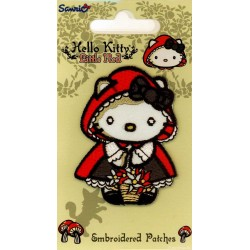 Hello Kitty som Rødhætte 6,5x4,5 cm strygemærke