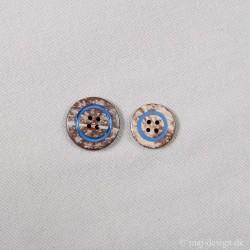 Knap 4-hul Kokos knap m/blå ring