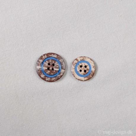Knap 4-hul Kokos knap med blå ring