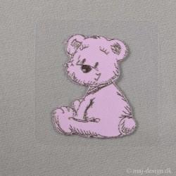 Lyserød Bjørn 5,5x4,5cm Strygemærke