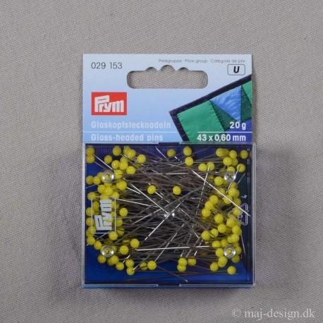 Knappenåle med Glashoved 43x0,6 mm Gul