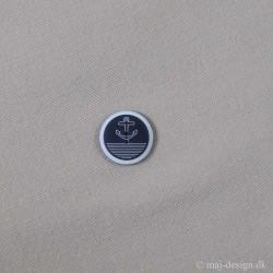 Marineblå/Hvid knap med Anker 23mm