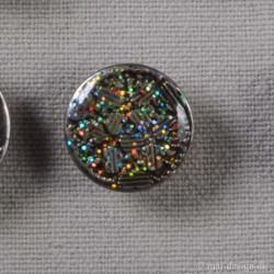 Patent knap m/Glitter 17mm
