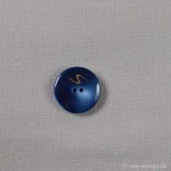 Blå 2-hul Knap med Lyn 22mm