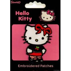 Hello Kitty Sort 6,5x4,5 cm strygemærke