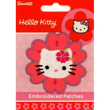 Hello Kitty som Blomst Ø 6,5 cm strygemærke