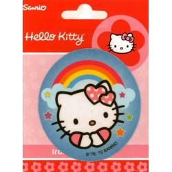 Hello Kitty m/regnbue PRINTET strygemærke
