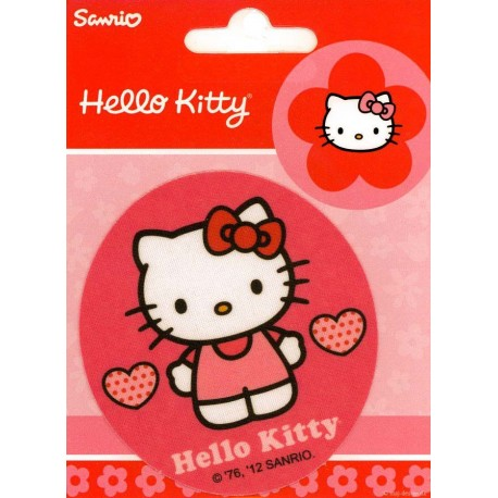 Hallo Kitty med Hjerte PRINTET strygelap Ø 7,5 cm