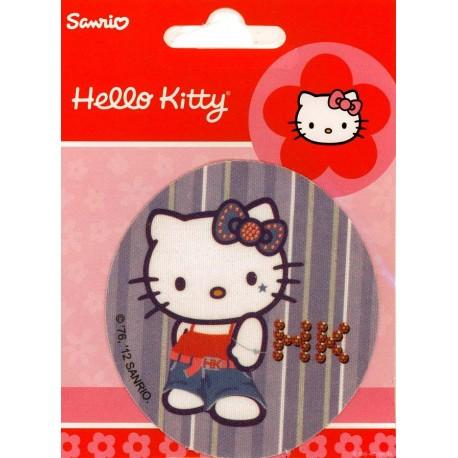 Hello Kitty med blå sløjfe PRINTET strygelap