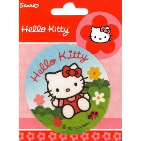 Hello Kitty med mariehøne PRINTET strygelap Ø 7,5 cm